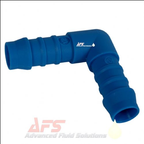 "16mm (5/8"") Elbow Hose Joiner Tefen 90 Degree Nylon Blue Connector Fitting"